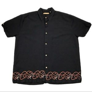 The Havanera Co. Embroidered Camp Button Up Large
